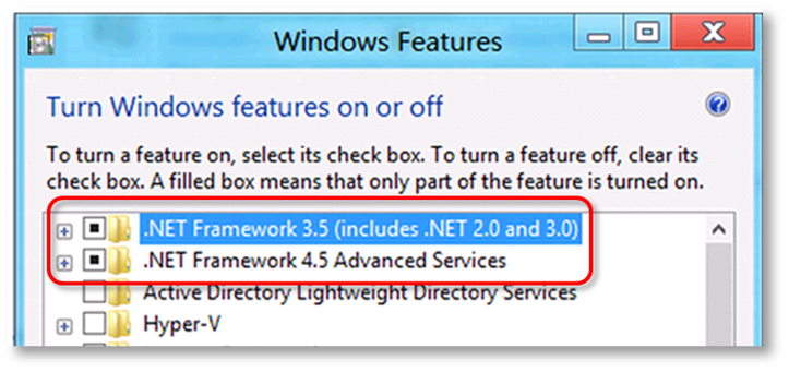 Steps to Enable .NET 3.5 for QuickBooks 2015 - Screenshot