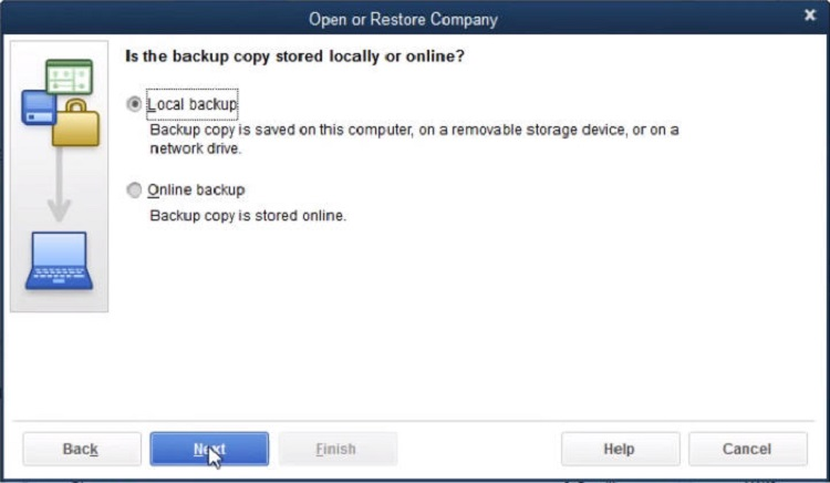 Choose the Local Backup