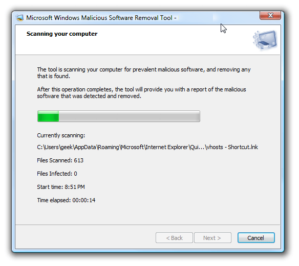 Execute the System Virus or Malware Scan - Screenshot