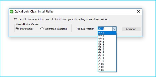 Select QuickBooks version and product version in clean install tool - Screenshot