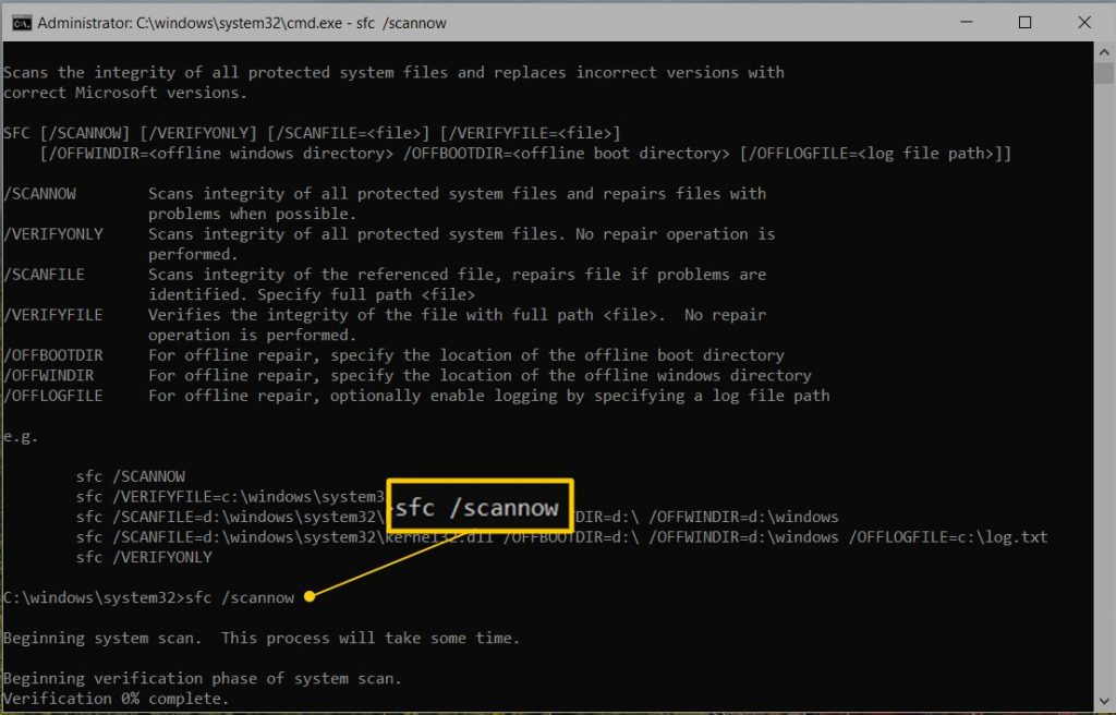 Start the System File Checker for Windows (SFC scannow) - Screenshot